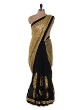 Black And Gold Sequins Saree - Istyledeals