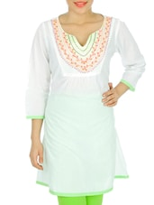 Solid White Kurti With Embroidered Neckline - Anubha
