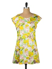 Yellow Floral Print Dress - Queens