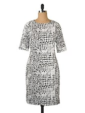 White And Black Printed Dress - Queens