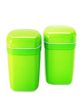 Green Food Grade Plastic   Big Container Set  Set Of  2 - Cello