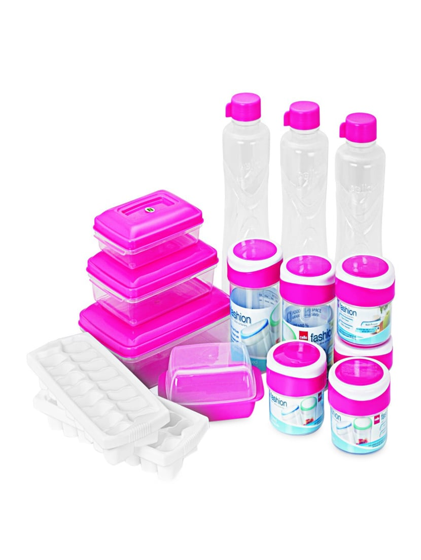 Pink Food Grade Plastic  Fridge Kit Set  Set Of  15 - Cello