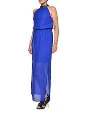 Chic Royal Blue Halter Maxi Dress - Muah