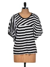 Black And White Striped Top - Muah