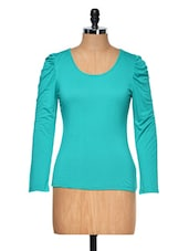 Green Round Neck Full Sleeved Top - Muah