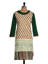 Cream Printed Kurta With Green Sleeves - NAVRITI