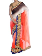 Pretty Orange Saree With Floral Border - Suchi Fashion