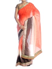 Orange Shaded Saree With Gold Border - Suchi Fashion