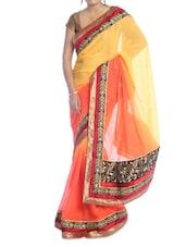 Orange And Yellow Shaded Saree - Suchi Fashion