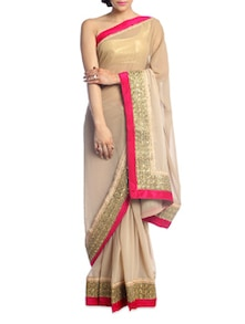 Solid Beige Saree With Pink Border - Suchi Fashion
