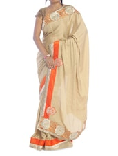 Solid Beige Saree With Orange Border - Suchi Fashion