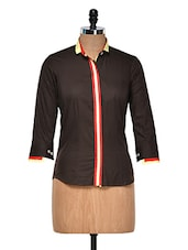 Chocolate Brown Shirt With Contrast Placket - DAZZIO