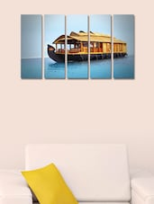 Printed House Boat Wall Art Painting - 5 Pieces - 999store
