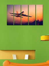 Printed Flying Plane Wall Art Painting - 5 Pieces - 999store