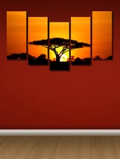 Sun Set Tree Wall Art Painting - 5 Pieces - 999store