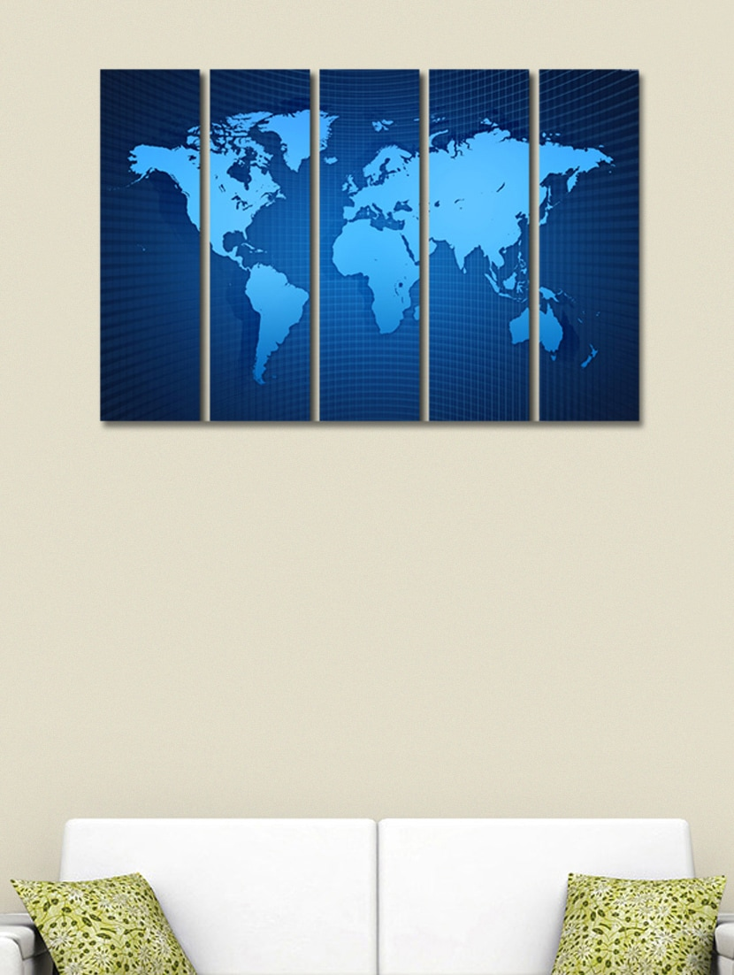 Buy printed world map wall art painting 5 pieces by 999store buy printed world map wall art painting 5 pieces by 999store online shopping for posters in india 941417 gumiabroncs Gallery