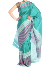 Chic Turquoise Polyester Cotton Saree - Saraswati