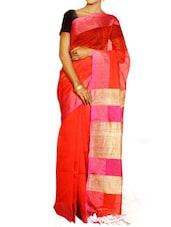 Red Saree With Pink And Beige Pallu - Cotton Koleksi