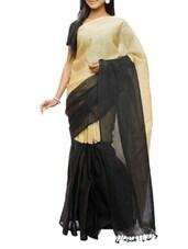 Black And Dusty Gold Half And Half Design Saree - Cotton Koleksi