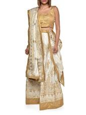 Regal White And Gold Silk Lehenga Set - Aggarwal Sarees