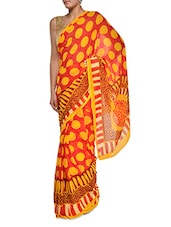 Yellow Printed Red Georgette Saree - Aggarwal Sarees