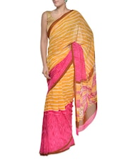 Striped Yellow-pink Georgette Saree - Aggarwal Sarees