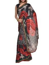 Rose Print Black And Red Georgette Saree - Aggarwal Sarees