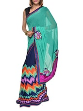 Printed Sea Green And Blue Georgette Saree - Aggarwal Sarees