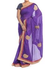 Bright Purple Saree With Gold Paisley Patterns - Saraswati