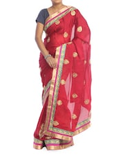 Bright Red Saree With Gold Patterns - Saraswati
