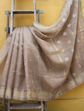 Beige And Dusty Gold All Over Gheecha Booti Design Saree - Cotton Koleksi