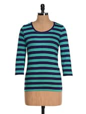 Green And Blue Striped Top - Colbrii
