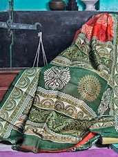 Orange And Green Printed Saree - Murshidabadi Silk