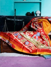 Red And Yellow Batik Saree - Murshidabadi Silk