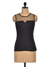 Black Round Neck Cotton Knit Top - Citrine