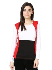 White, Black And Red Full Sleeved Top - Citrine