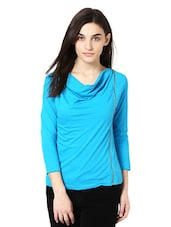 Blue Full Sleeved Top With Zipper Trim - Citrine