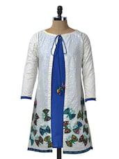 Butterfly Print White And Blue Cotton Kurti - Glam And Luxe
