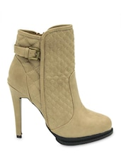 Quilted Pattern Beige Boots - Belle Gambe