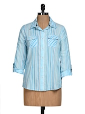 Roll-up Sleeve Blue Striped Shirt - Overdrive