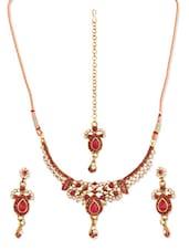 Pink Stone-studded Necklace, Earrings And Maangtika Set - Vendee Fashion