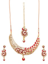 Pink And Gold Stone-studded Necklace, Earrings And Maangtika Set - Vendee Fashion