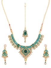 Sky Blue And Gold Stone-studded Necklace, Earrings And Maangtika Set - Vendee Fashion