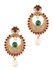 Maroon And Green Kundan Earrings - Vendee Fashion