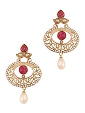 Pink And Gold Embellished Earrings With A Pearl Drop Base - Vendee Fashion