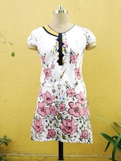 White And Pink Floral Printed Kurti - Sutee