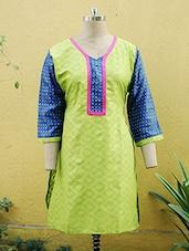 Lime Green And Blue Printed Kurti - Sutee