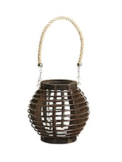 Brown Basket Design Lantern With A Rope Handle - By