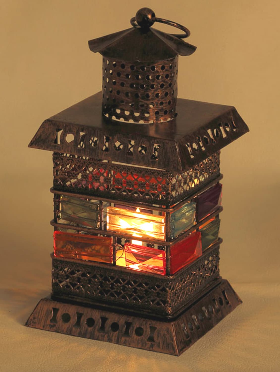 Colored Glass And Gun Metal Tea Light Holder With Copper Finish - Aapno Rajasthan