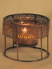 Floating Gun Metal Teal Light Holder With Copper Finish - Aapno Rajasthan